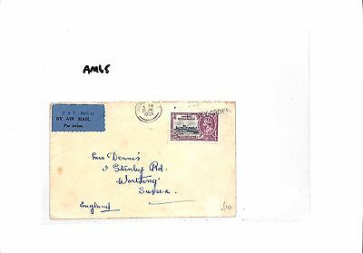 AM65 1935 SINGAPORE Straits Settlements  to GB Sussex. Airmail Cover
