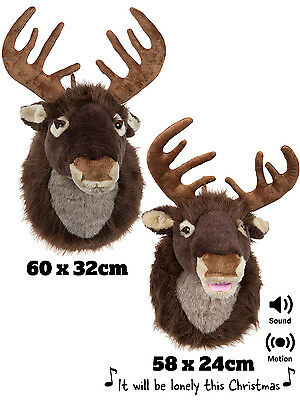 Plush Reindeer Head Christmas Xmas Hanging Soft Plush Stag Wall Decoration Funny
