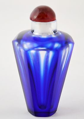 Vintage Art Deco Perfume Bottle Blue Hand Cut Glass Scent Bottle Miniature