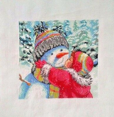 """New Completed finished cross stitch""""KISS SNOWMAN""""Christmas gift decor gifts"""