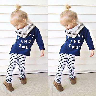 2PCS Toddler Kids Baby Girls Cotton T-shirt Tops+Long Pants Outfit Clothes Set