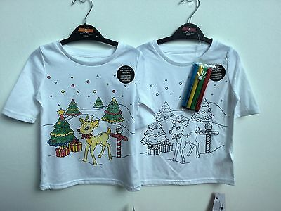 Novelty Girls Colour Your Own Christmas T-Shirts 2 Design Pens Included 3-10 Yrs