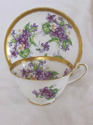 Lovely Vintage ROYAL CHELSEA Tea Cup and Saucer VIOLETS with Gold Trim!