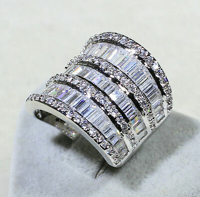 Luxury Women Jewelry White sapphire Cz 925 Silver Engagement Wedding Band ring