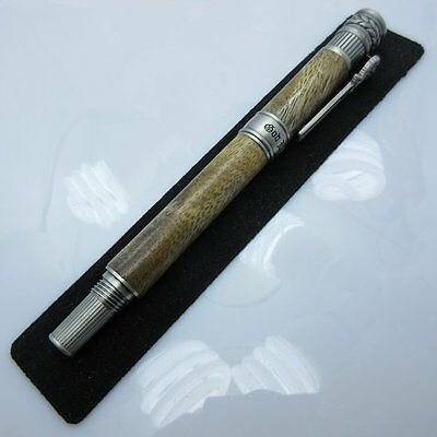 Hand Turned American Patriot Rollerball Pen in (Mahogany) Antique Pewter