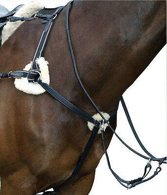 New Easytrek leather five point breastplate with martingale - black or brown
