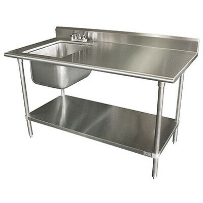 """Advance Tabco KMS-11B-306L 72"""" Work Table With Left Sink"""