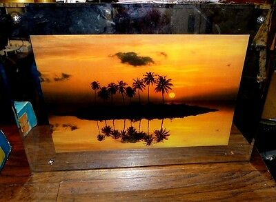 15473 Vintage Lighted Picture Framed Electric  Tropical Island Sunset w motion