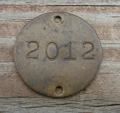 Numbers Sign Plaque 2012 Brass Tag Antique or Vintage Tiny 1 Inch in Size