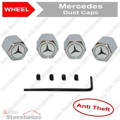 Mercedes Anti Theft Tyre Valve Dust Caps [White]