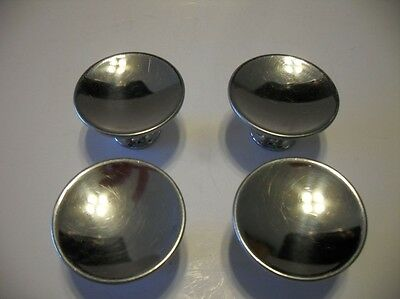 "Four Vintage 1-7/16"" Chrome Steel Drawer Knobs Cabinet Pull Handles Concave Face"