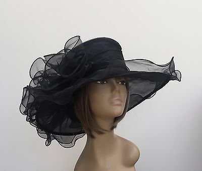 New Large Black Organza Brides Wedding Hat Mother Of The Bride/Groom Ascot Races