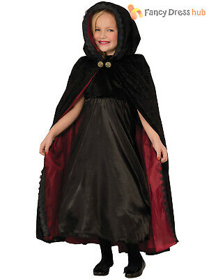 Girls Deluxe Velour Gothic Vampire Cape Child Kids Halloween Fancy Dress Costume