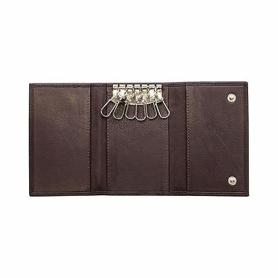 Genuine Leather Key Chain Pouch Key Case Note/Card Holder-Coffee Colour