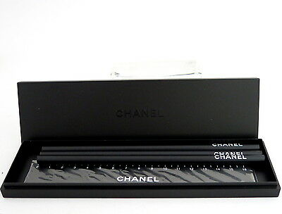 NEW AUTHENTIC CHANEL 3 Pencils Ruler Set Novelty Black W/Case *EXTREMELY RARE*