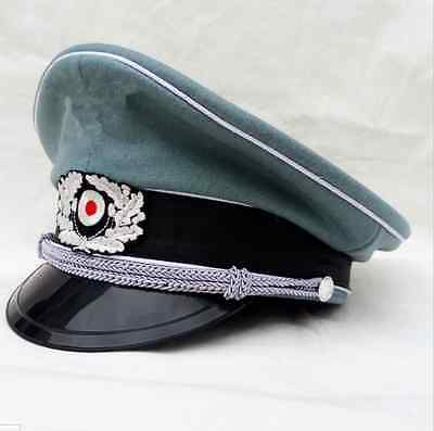 WW2 WWII GERMAN M36 HATS OFFICER WOOL CAP WITH CHIN CORD SIZE L Army Shop