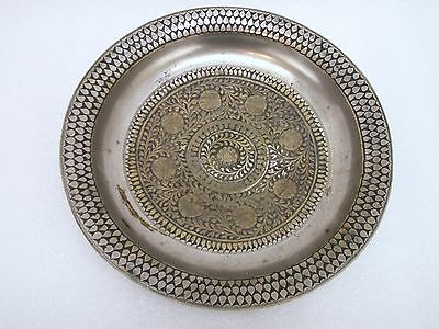 Antique Brass Bowl Mercury Fire Silver Plate Hand Etched Pre Sheffield Plate era