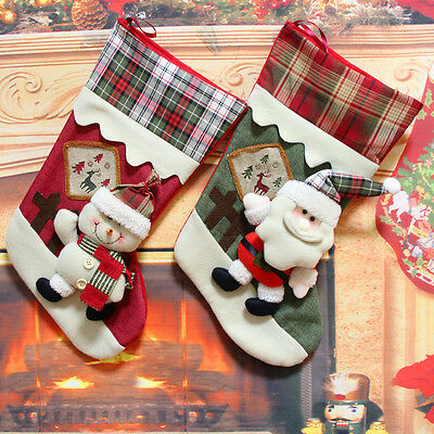 Xmas Personalised Embroidered Christmas Santa Snowman Stockings Decorations New
