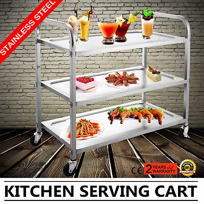 3 Tier Stainless Steel Catering Serving Trolley Cart Large Capacity 330 Lbs Uk