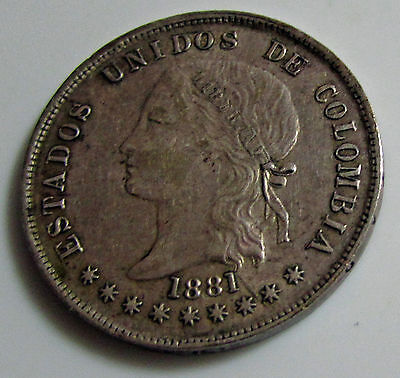 Colombia 1881 50 Centavos Silver  Km # 177.1 Doubled Date Reverse Die Crack