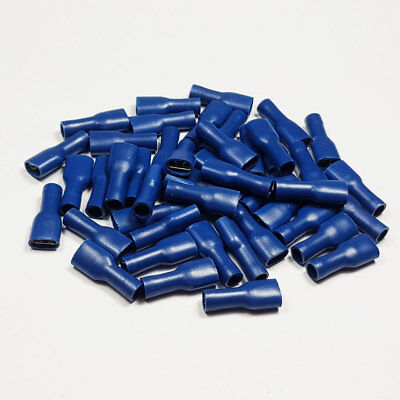 50 x 6.3mm Fully Insulated Blue Female Spade Terminal Connector Crimp Terminals