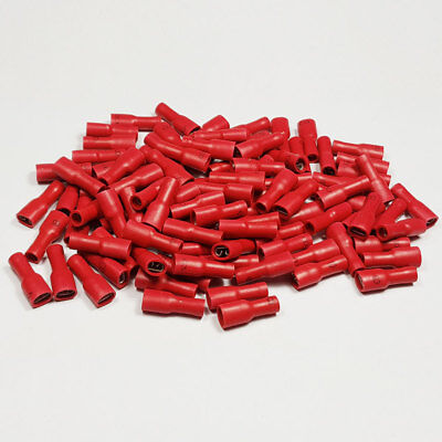 100 x 4.8mm Fully Insulated Red Female Spade Terminal Connector Crimp Terminals