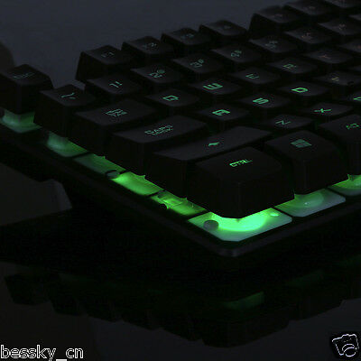 USB Wired Illuminated Colorful LED Backlight Multimedia Gaming Keyboard For PC