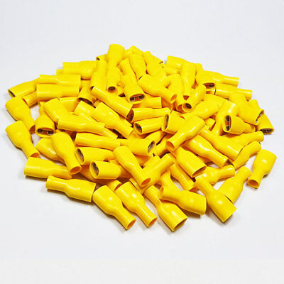 25x 9.5mm Fully Insulated Yellow Female Spade Terminal Connector Crimp Terminals