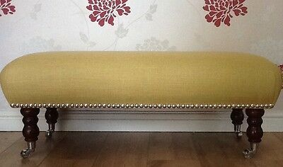 A Quality Long Footstool In Laura Ashley Dalton Camomile Fabric