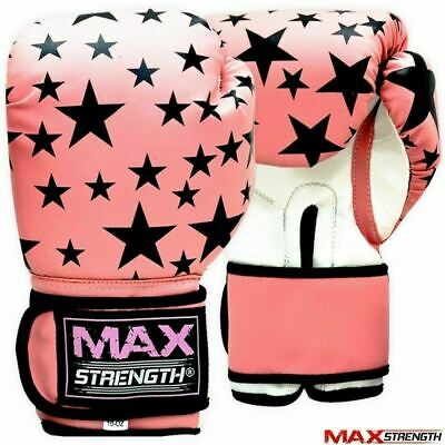 MAXSTRENGTH Ladies Pink Boxing Punch Gloves Women Fight Gym Training Bag Mitts