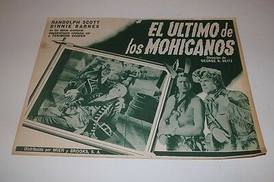 The Last of the Mohicans Mexican Lobby Card Randolph Scott George B. Seitz