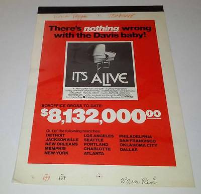 Daily Variety It's Alive Box Office Gross Magazine Ad Artwork 1974 Larry Cohen