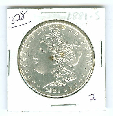1881-S Authentic Morgan Silver Dollar Coin - UNC Uncirculated