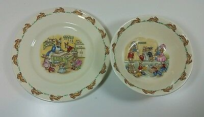 Vintage Royal Doulton Bunnykins Childrens Plate and Bowl