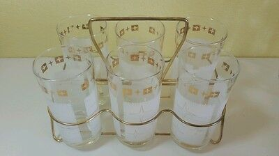 Vintage Glass Carrier Atomic Tumblers Set of 6