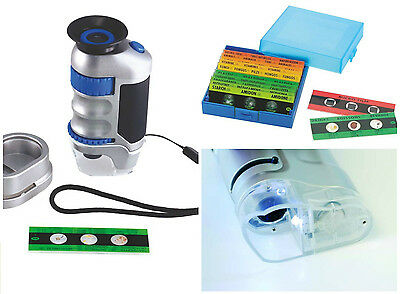 Hand Held Microscope 20x & 40x optical magnification LED Lighted Pocket & slides