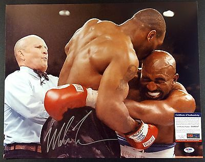 """Iron"" Mike Tyson Autographed Signed 16x20 Photo (Biting Holyfield's Ear) PSA"