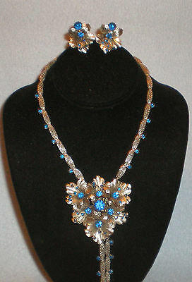 Antique Silver Tone Blue Rhinestone Orchid Cluster Necklace Choker Earring Set