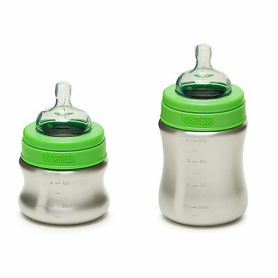 Kid Kanteen Brushed Stainless Steel baby bottle with teats - BPA and toxin free