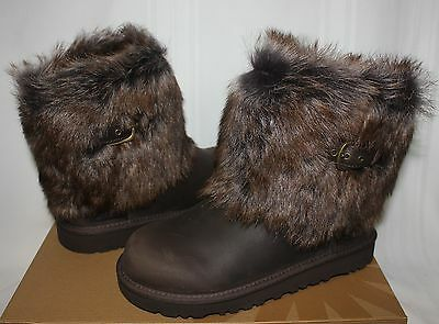 Ugg Kids Ellee leather Boots Chocolate Brown NEW