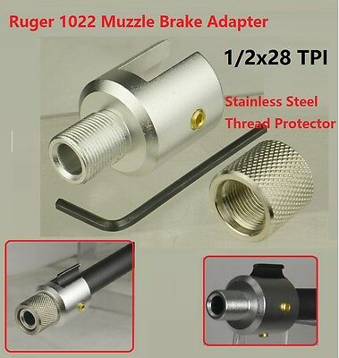 """Silver Ruger 1022 Muzzle Adapter 1/2""""x28 + Stainless 1/2""""x28 Thread Protector"""