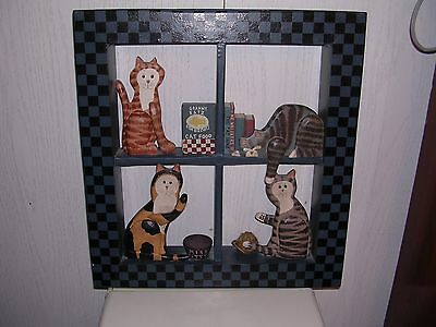 CAT 3D Folk Art Wooden Window Picture Frame