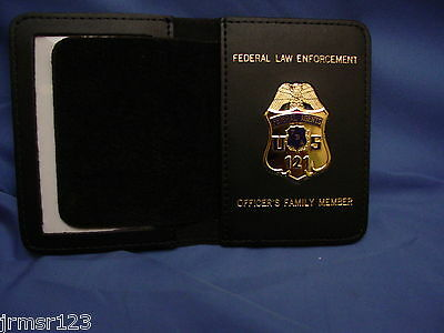 FEDERAL AGENT LEATHER WALLET W/ MINI BADGE -FAMILY MEMBER  LARGE wallet FOP PBA