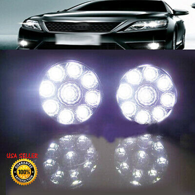 2X Car 9 LED Round Daytime Running Driving DRL Fog Head Light Lamp For Benz