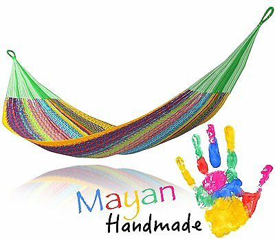 Multi Color Handwoven Mexican Mayan QUEEN SIZE FAMILY Hammock A5