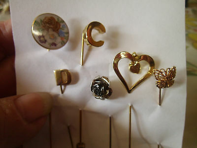 Lot Of 6 Old Stick Pins Ceramic Roses Initials Rose Heart Hat Pin Lapel Collar