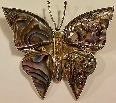 Sterling Silver 925 Abalone Butterfly Brooch / Pin