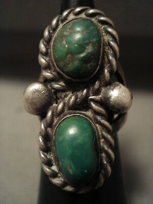 Early 1900's Vintage Navajo Green Turquoise Silver Ring Old