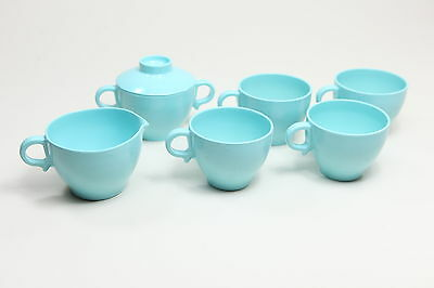 Vintage 6 Piece Turquoise Melmac Coffee Tea Set Melamine Quality Dinnerware