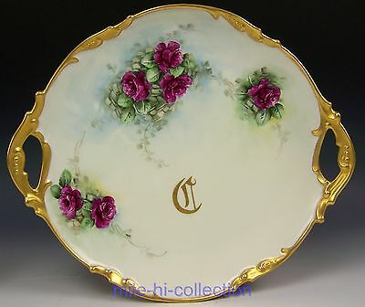 Limoges Hand Painted Roses Charger Cake Plate Artist Peters (A)